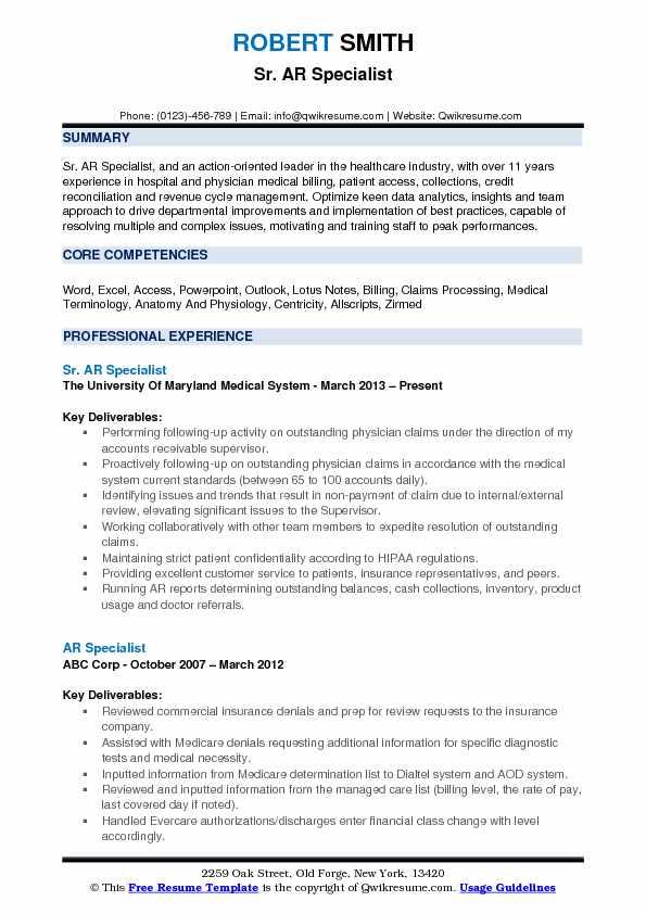 Sr. AR Specialist Resume Example