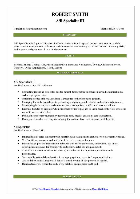 A/R Specialist III Resume Sample