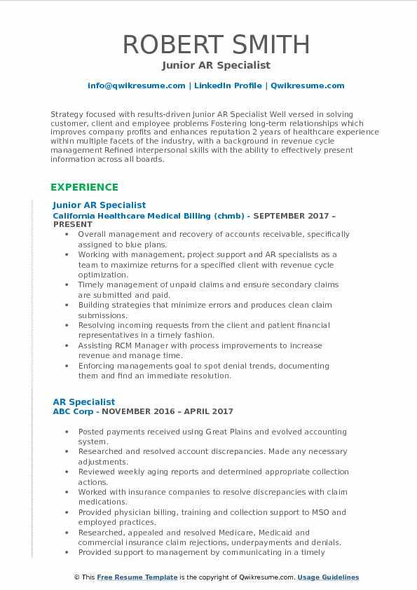 Junior AR Specialist Resume Format