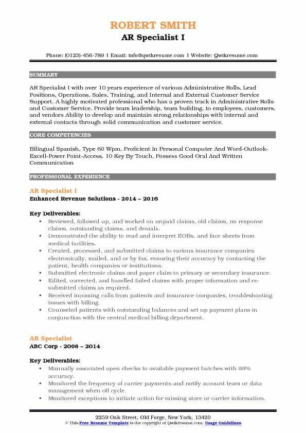 AR Specialist I Resume Format