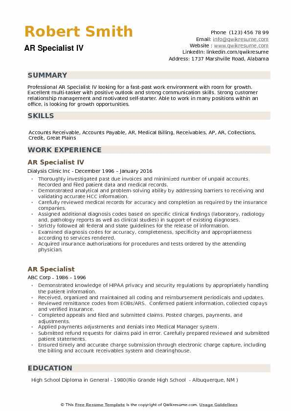 ar specialist resume samples