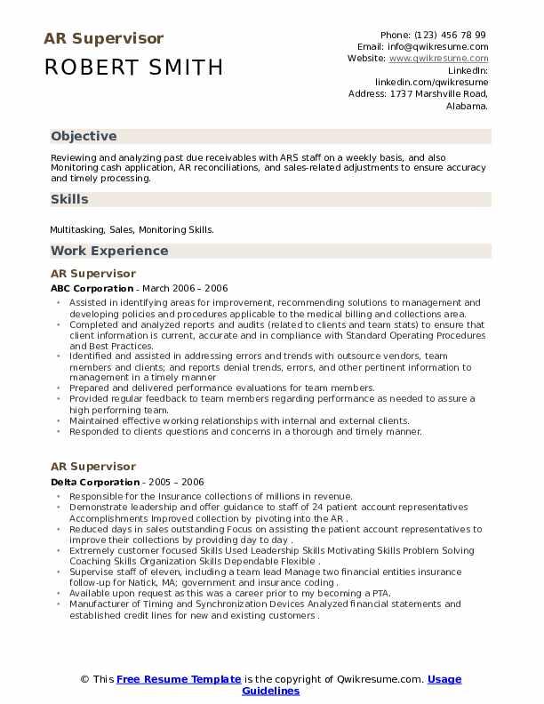 AR Supervisor Resume example