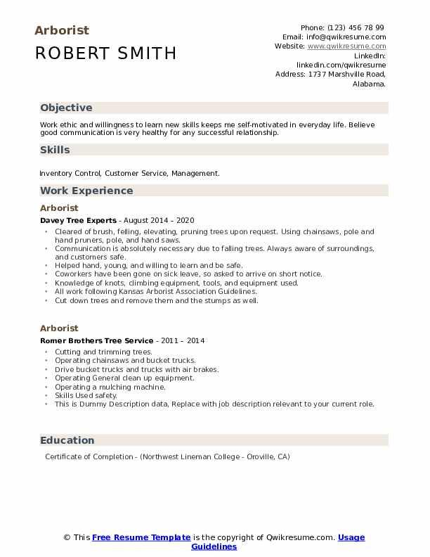 Arborist Resume example