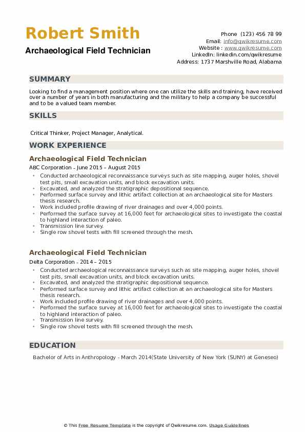 Archaeological Field Technician Resume example