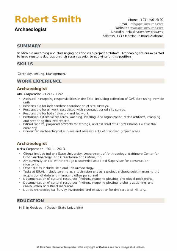 Archaeologist Resume example