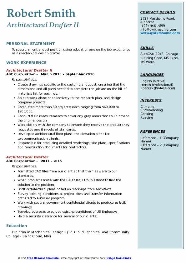 architectural drafter resume samples  qwikresume