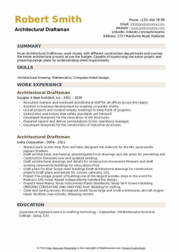 Architectural Draftsman Resume example