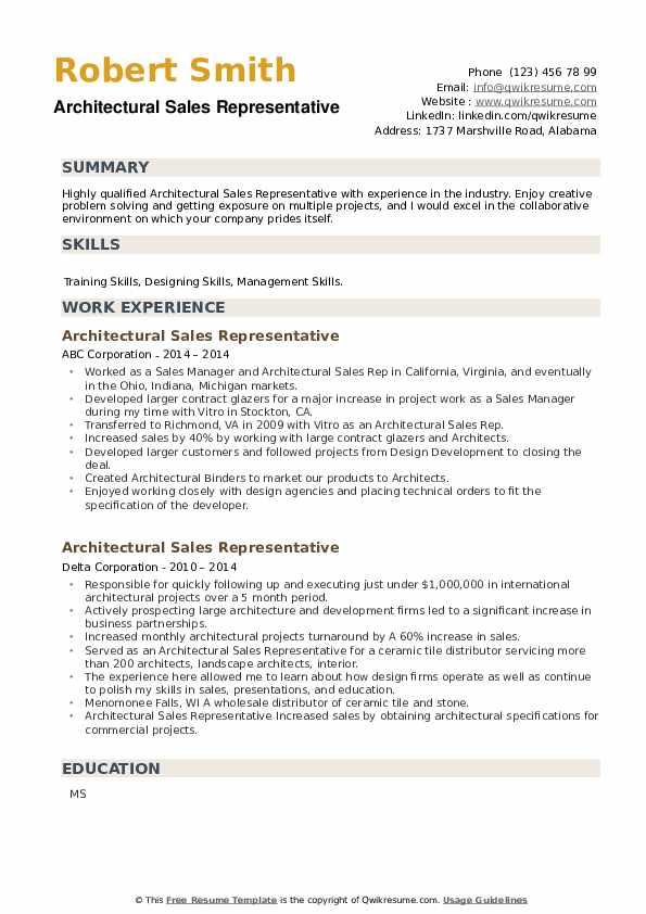 Architectural Sales Representative Resume example