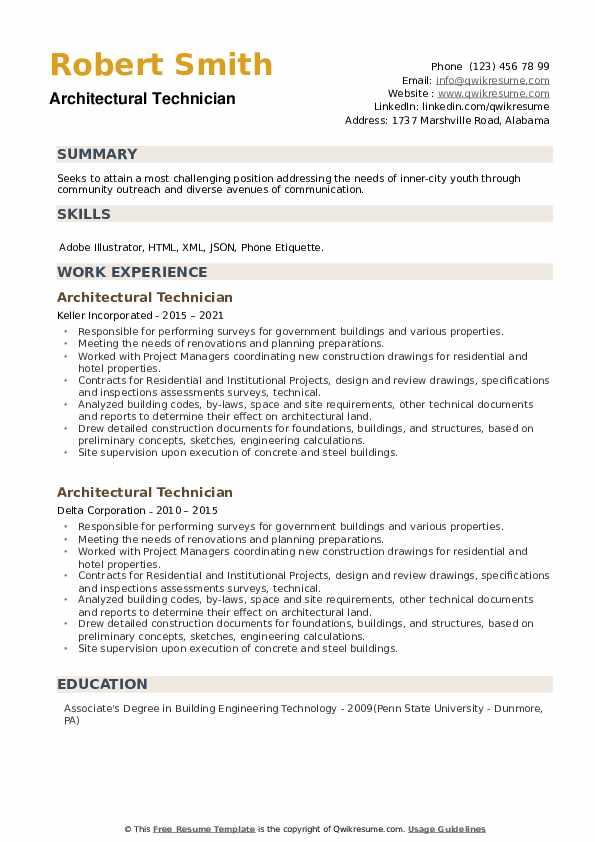 Architectural Technician Resume example