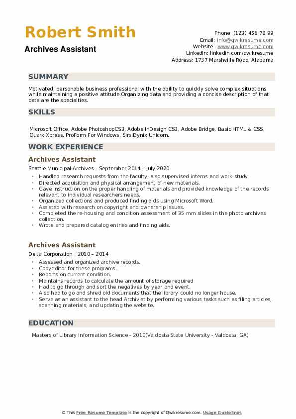 Archives Assistant Resume example