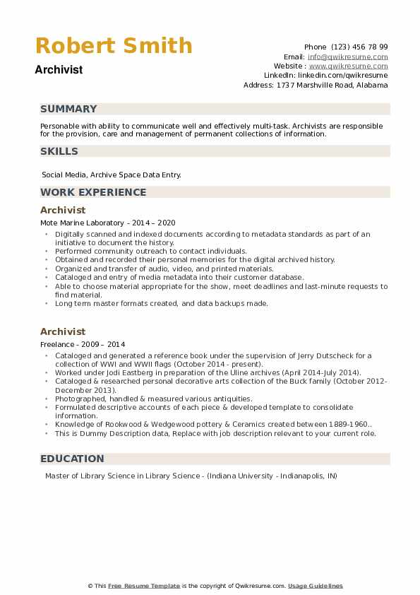 Archivist Resume example