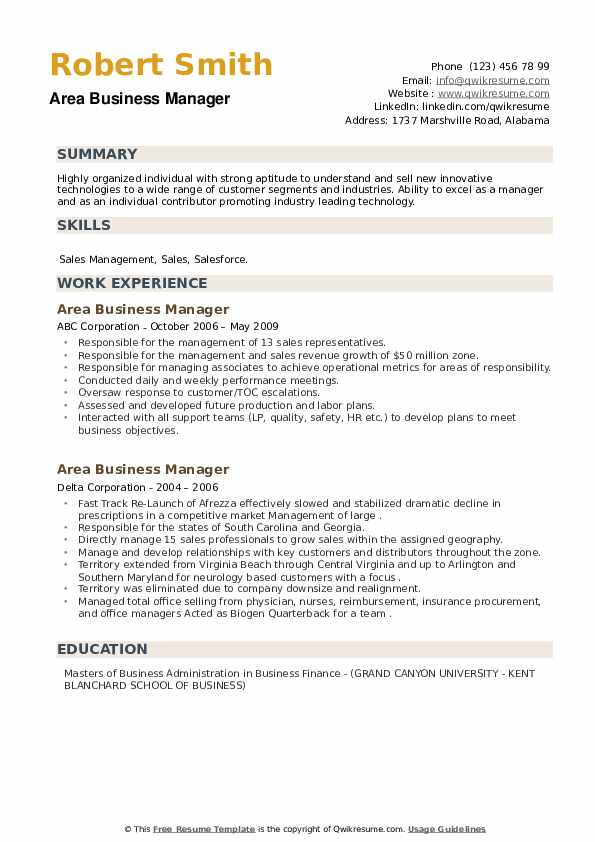 Area Business Manager Resume example