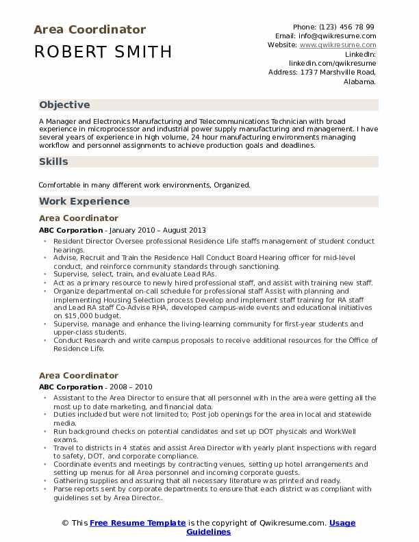 Area Coordinator Resume Sample