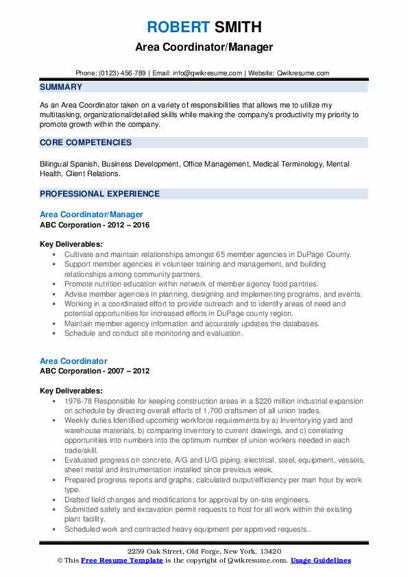 Area Coordinator/Manager Resume Template