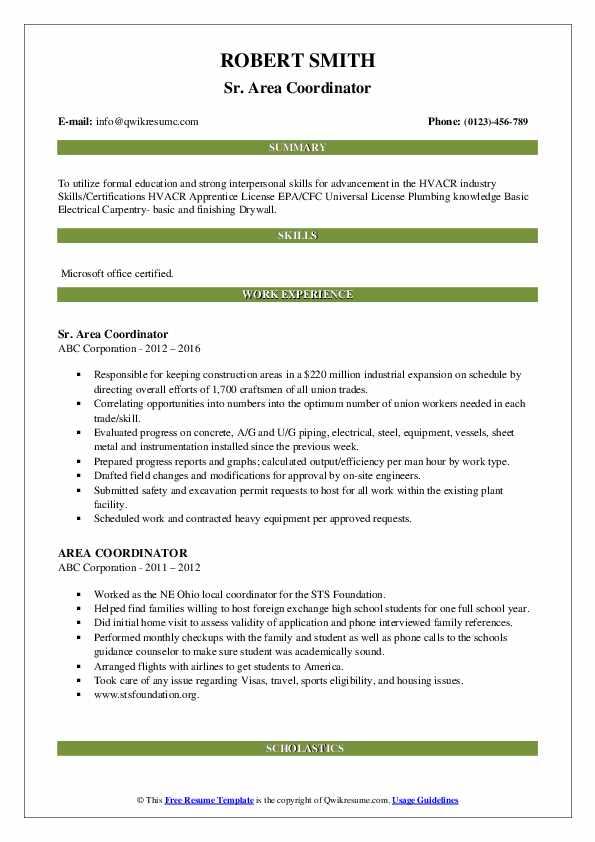 Sr. Area Coordinator Resume Sample