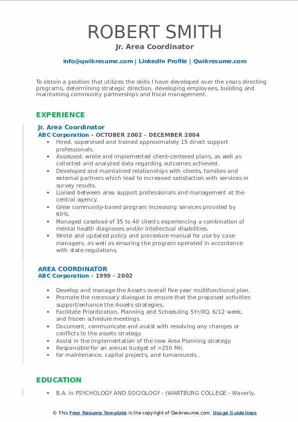 Jr. Area Coordinator Resume Format