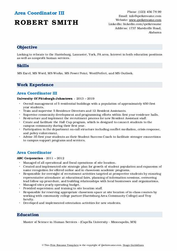 Area Coordinator III Resume Format
