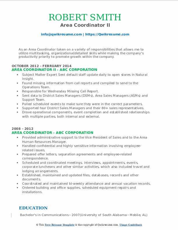 Area Coordinator II Resume Model