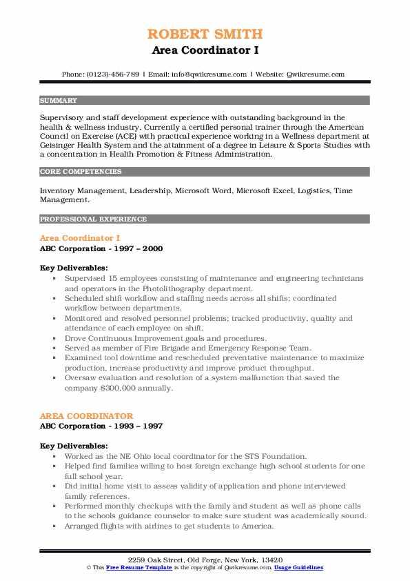 Area Coordinator I Resume Template