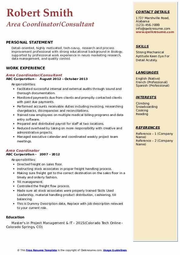 Area Coordinator/Consultant Resume Format