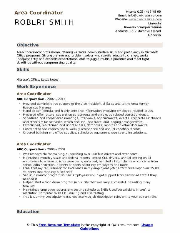 Area Coordinator Resume example