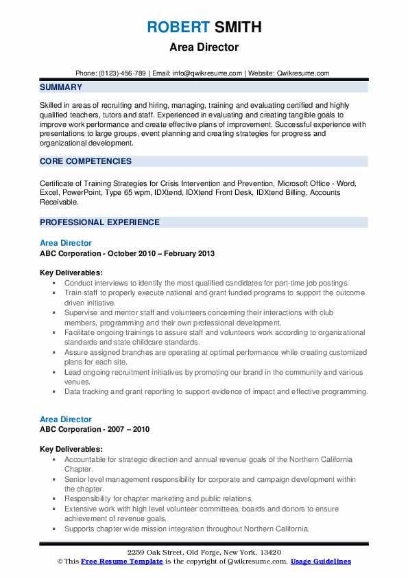 Area Director Resume example