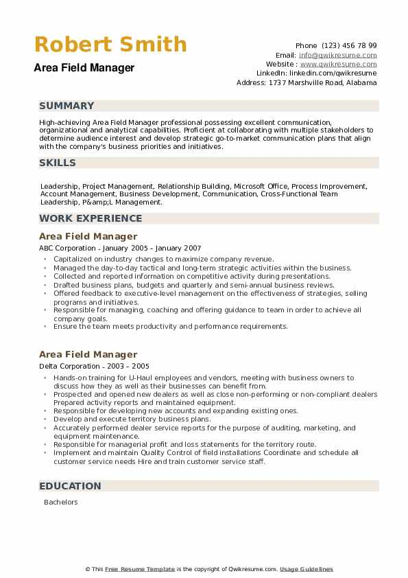 Area Field Manager Resume example