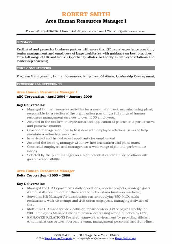 area human resources manager resume samples  qwikresume