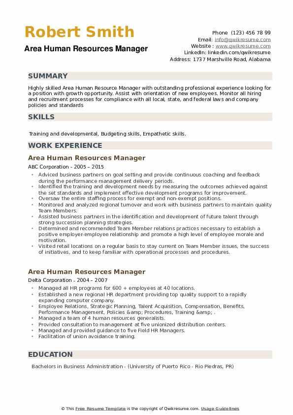 Area Human Resources Manager Resume example