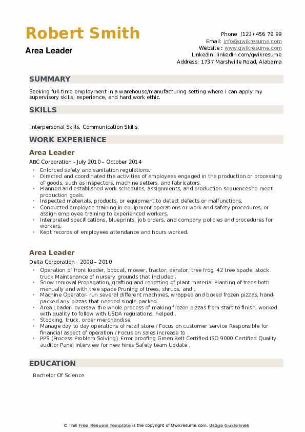 Area Leader Resume example