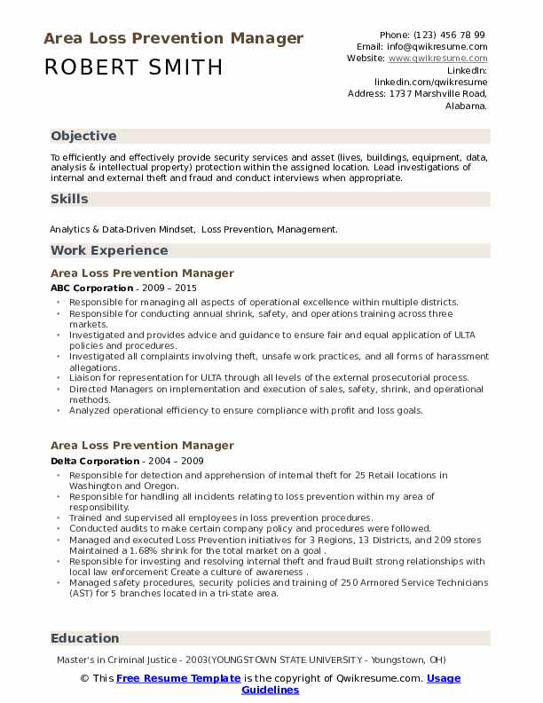 Area Loss Prevention Manager Resume Samples