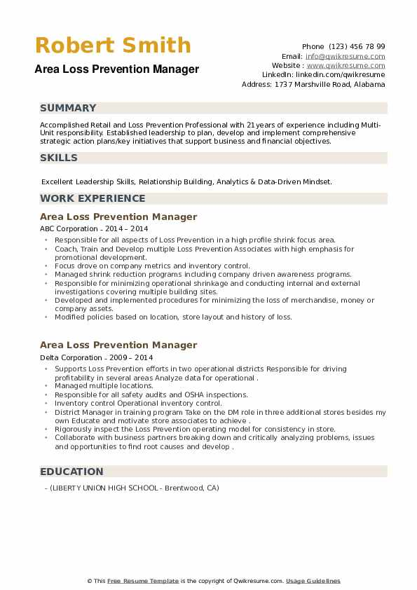 Area Loss Prevention Manager Resume example