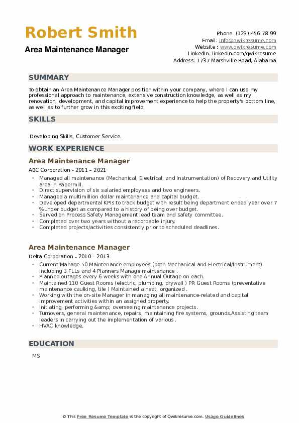 Area Maintenance Manager Resume example