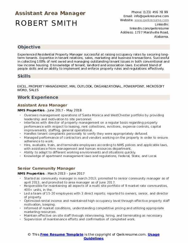 Area Manager Resume Samples Qwikresume