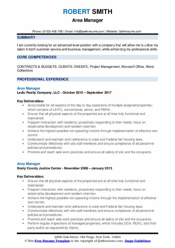 Area Manager Resume Sample