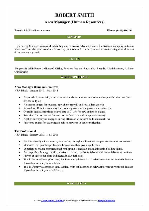 Area Manager (Human Resources) Resume Example