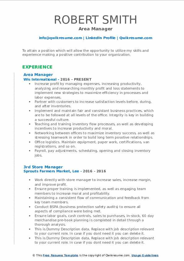 area manager resume samples