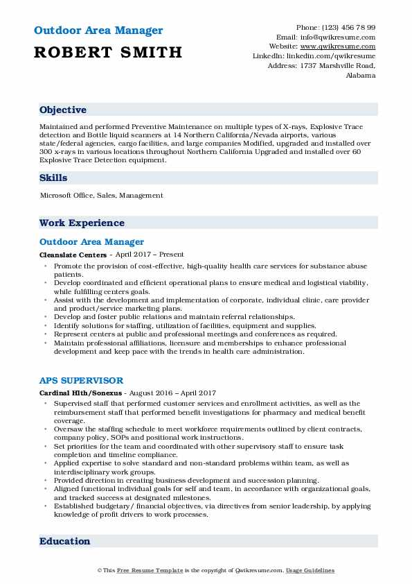 Outdoor Area Manager Resume Sample