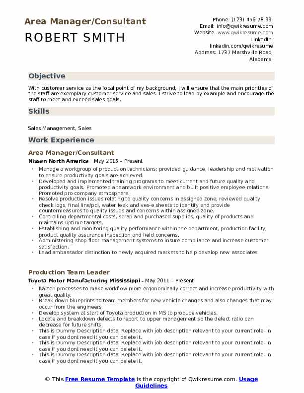 Area Manager/Consultant Resume Example