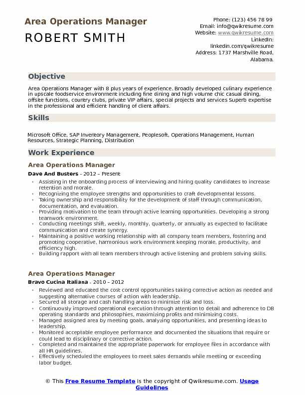 Area Operations Manager Resume Sample