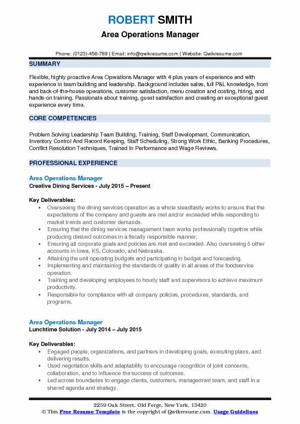 Area Operations Manager Resume Template