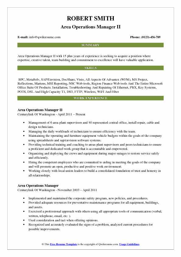 Area Operations Manager II Resume Format