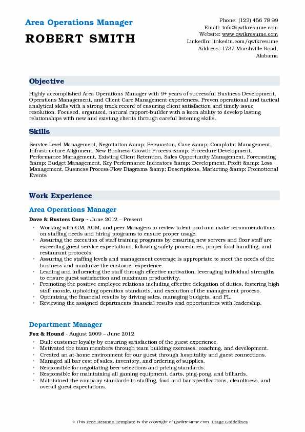 Area Operations Manager Resume Format