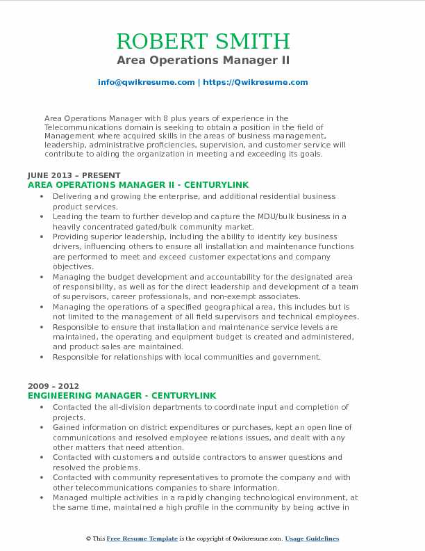 Area Operations Manager II Resume Template