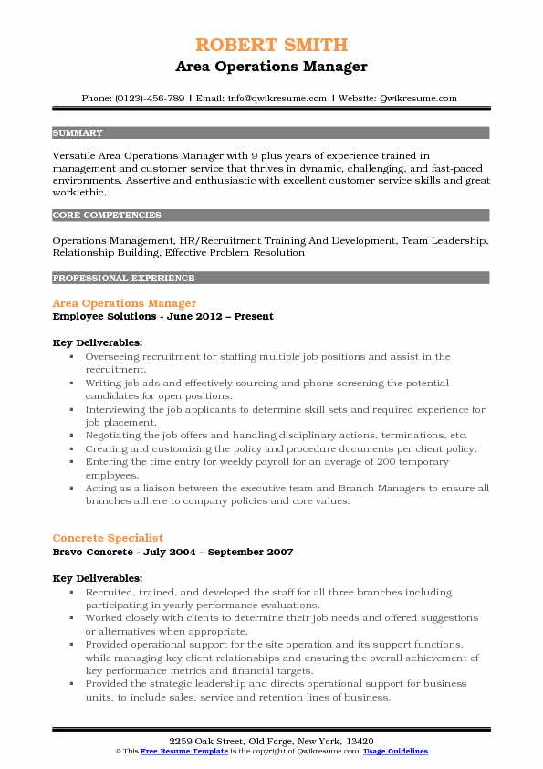 Area Operations Manager Resume Model