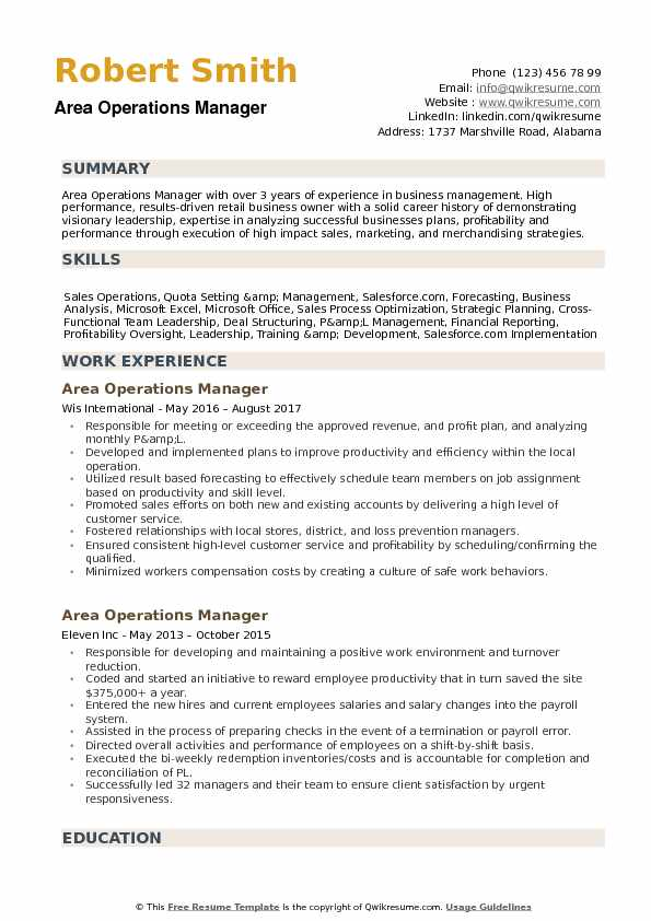 Area Operations Manager Resume Samples | QwikResume
