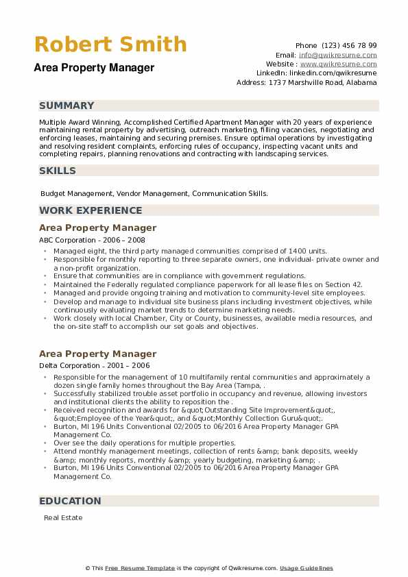 Area Property Manager Resume example