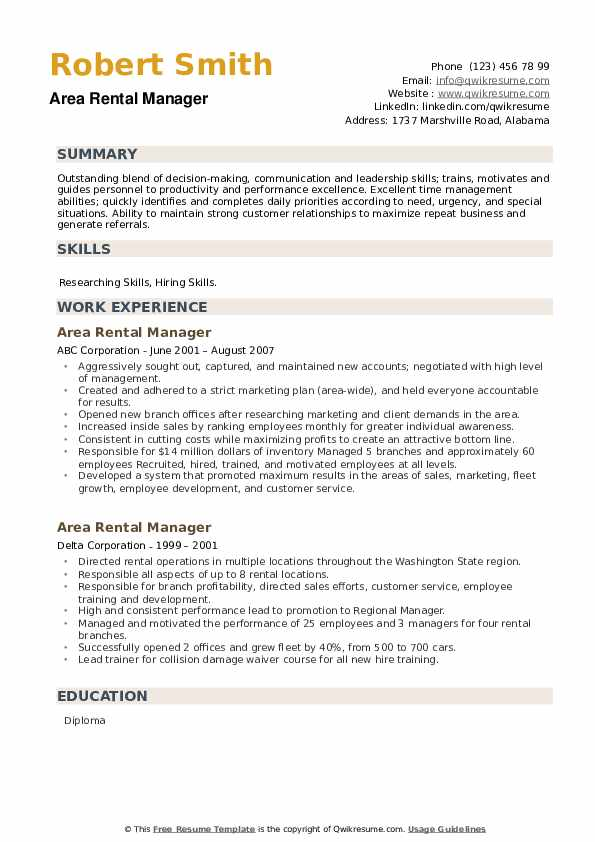 Area Rental Manager Resume example