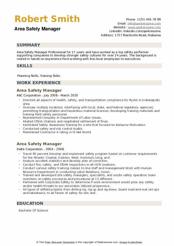 Area Safety Manager Resume example