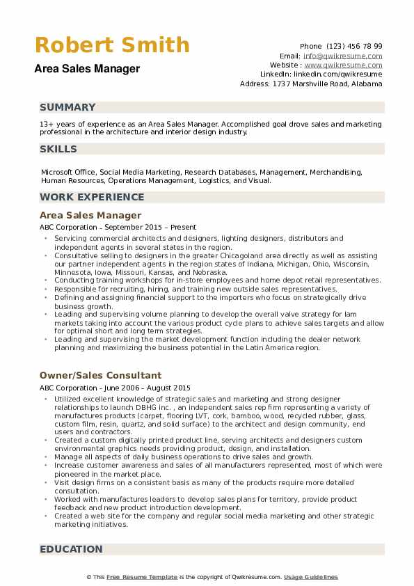 Area Sales Manager Resume Samples Qwikresume